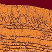 Us Constitution Closeup Sculpture Violet Red Background Art Print