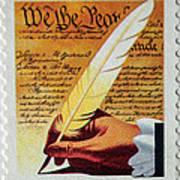 Us Constitution Stamp Art Print