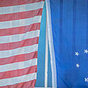 Us Flag And Conch Republic Flag Key West  - Panoramic - Hdr Style Art Print by Ian Monk