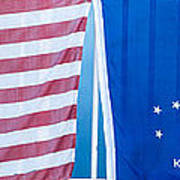 Us Flag And Conch Republic Flag Key West  - Panoramic Art Print by Ian Monk