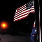 Us Flag Arizona Flag Twilight Casa Grande Arizona 2005 Art Print