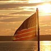 Us Flag At Sunset Art Print