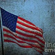 Us Flag -blue Antiqued Art Print