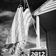 Us Flag Flying And Barack Obama 2012 Us Presidential Election Poster Florida Usa Art Print by Joe Fox