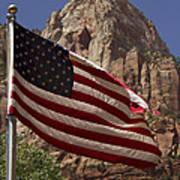U.s. Flag In Zion National Park Art Print
