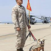 U.s. Marine And The Official Mascot Art Print