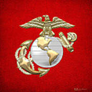 U. S. Marine Corps Eagle Globe And Anchor - E G A On Red Leather Art Print