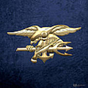 U. S. Navy S E A Ls Emblem On Blue Velvet Art Print