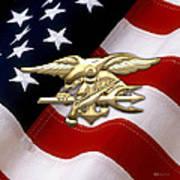 U. S. Navy S E A Ls Emblem Over American Flag Art Print