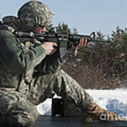 U.s. Soldier Fires His M4a3 Carbine Art Print
