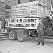 U.s. Soldier Guards A Truck Holding Art Print