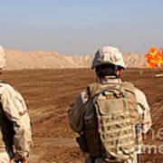 U.s. Soldiers Detonate A Test Explosion Art Print