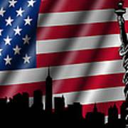 Usa American Flag With Statue Of Liberty Skyline Silhouette Art Print