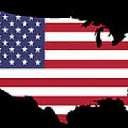 Usa And Flag Art Print