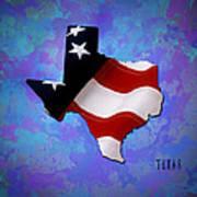 Usa Flagtexas State Digital Artwork Art Print