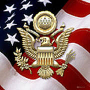 U. S. A. Great Seal In Gold Over American Flag  Art Print