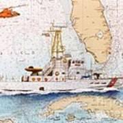 Uscg Sapelo Helicopter Fl Nautical Chart Map Art Peek Art Print