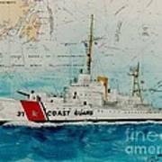 Uscgc Bibb Nautical Chart Cathy Peek Art Print