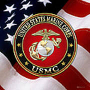 U S M C Eagle Globe And Anchor - E G A Over American Flag. Art Print