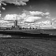 Uss Bowfin-black And White Art Print