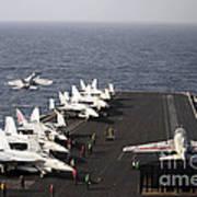 Uss Enterprise Conducts Flight Print by Stocktrek Images