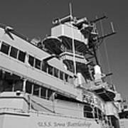 Uss Iowa Battleship Portside Bridge 01 Bw Art Print