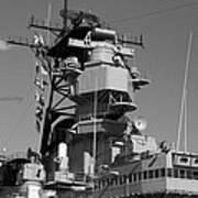 Uss Iowa Battleship Starboardside Bridge 02 Bw Art Print
