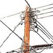 Utility Pole Hung With Electricity Power Cables Art Print