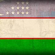 Uzbekistan Flag Vintage Distressed Finish Art Print