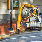 Vacuuming The Sidewalk Art Print