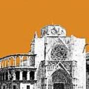 Valencia Skyline Valencia Cathedral - Dark Orange Art Print