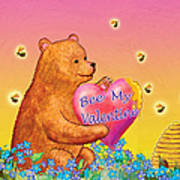 Valentine Baby Bear Art Print