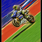 Valentino Rossi Wheely Down The Blue Red And Green Art Print