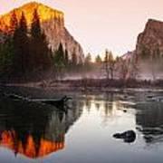 Valley View Winter Sunset Yosemite National Park Art Print