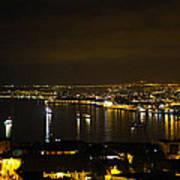 Valparaiso Harbor At Night Art Print