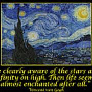 Van Gogh Motivational Quotes - Starry Night II Art Print