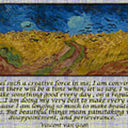 Van Gogh Motivational Quotes - Wheatfield With Crows II Art Print