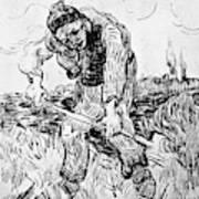 Peasant Hoeing Art Print