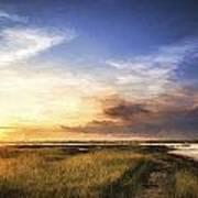 Van Gogh Style Digital Painting Beautful Summer Evening Landscape Over Wetlands And Harbour Art Print