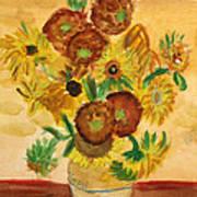 van Gogh's Sunflowers in Watercolor Art Print