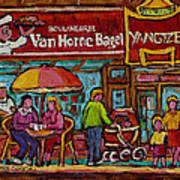 Van Horne Bagel With Yangtze Restaurant Montreal Street Scene Art Print by Carole Spandau