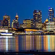 Vancouver Bc City Skyline Reflection Art Print