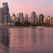 Vancouver Bc Skyline Along False Creek At Dusk Art Print