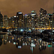 Vancouver Bc Skyline From Stanley Park At Nigh Art Print