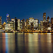 Vancouver Bc Skyline From Stanley Park During Blue Hour Art Print
