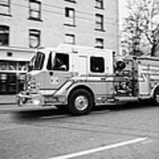 Vancouver Fire Rescue Services Truck Engine 2 Speeding Through Downtown City Streets Bc Canada Delib Art Print by Joe Fox