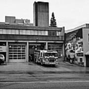 Vancouver Fire Rescue Services Truck Engine Outside Hall 2 In Downtown Eastside Bc Canada Art Print by Joe Fox