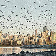 Vancouver Skyline With Crows Art Print