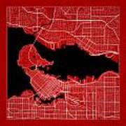 Vancouver Street Map - Vancouver Canada Road Map Art On Color Art Print