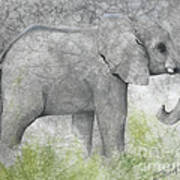 Vanishing Thunder Series-baby Elephant II  Art Print